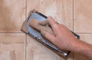 grouting on a tile