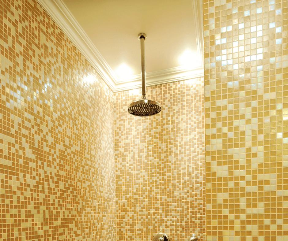 golden hollywood tiles in shower room